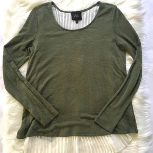 W5 Olive Green Split Back Long Sleeve Top Small